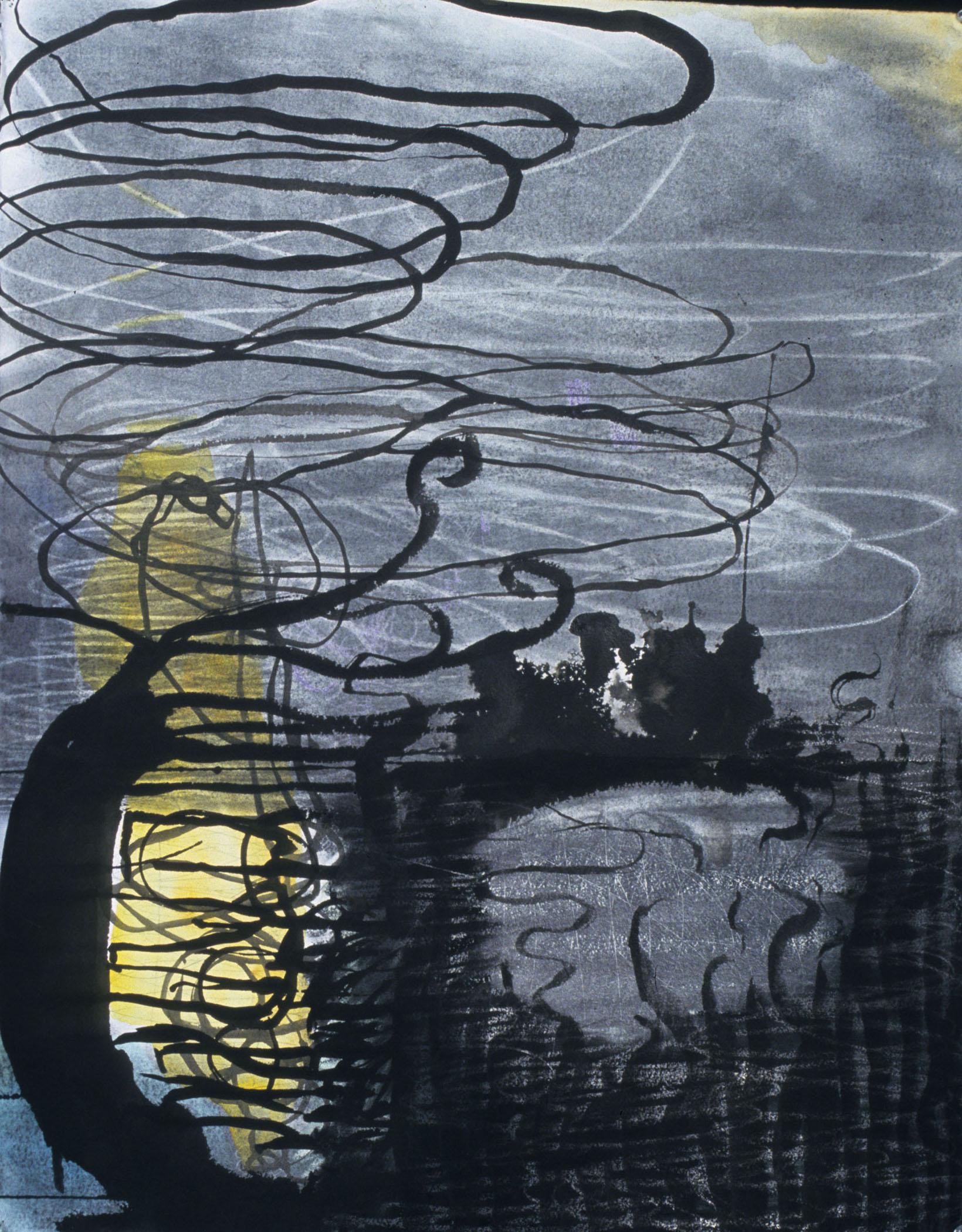 "Water Swirl,  26""x 20"", charcoal, ink, graphite, gouache, 2007"