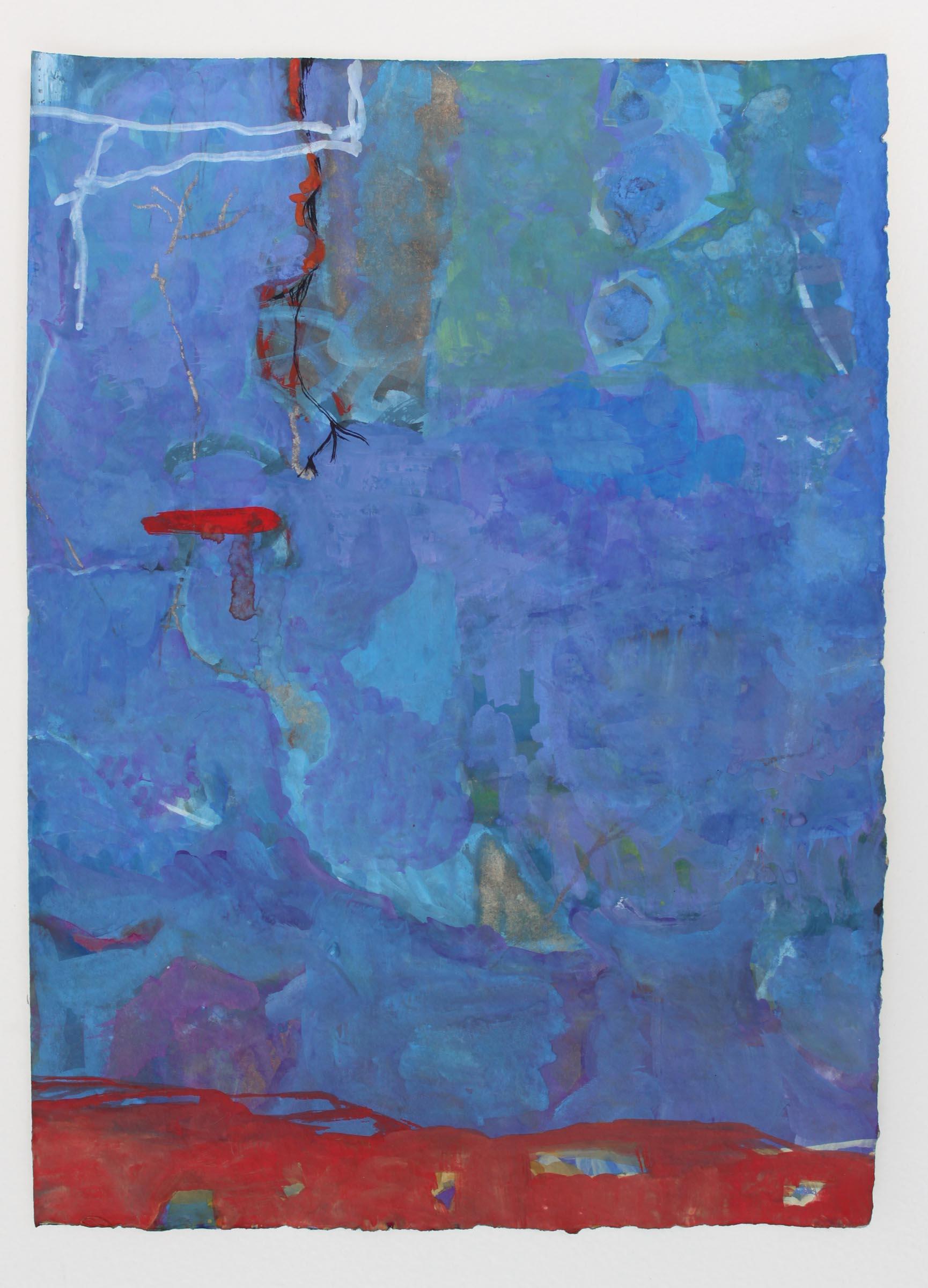"Sailing in Blue,  11""x 8"", gouache on handmade paper, 2010"