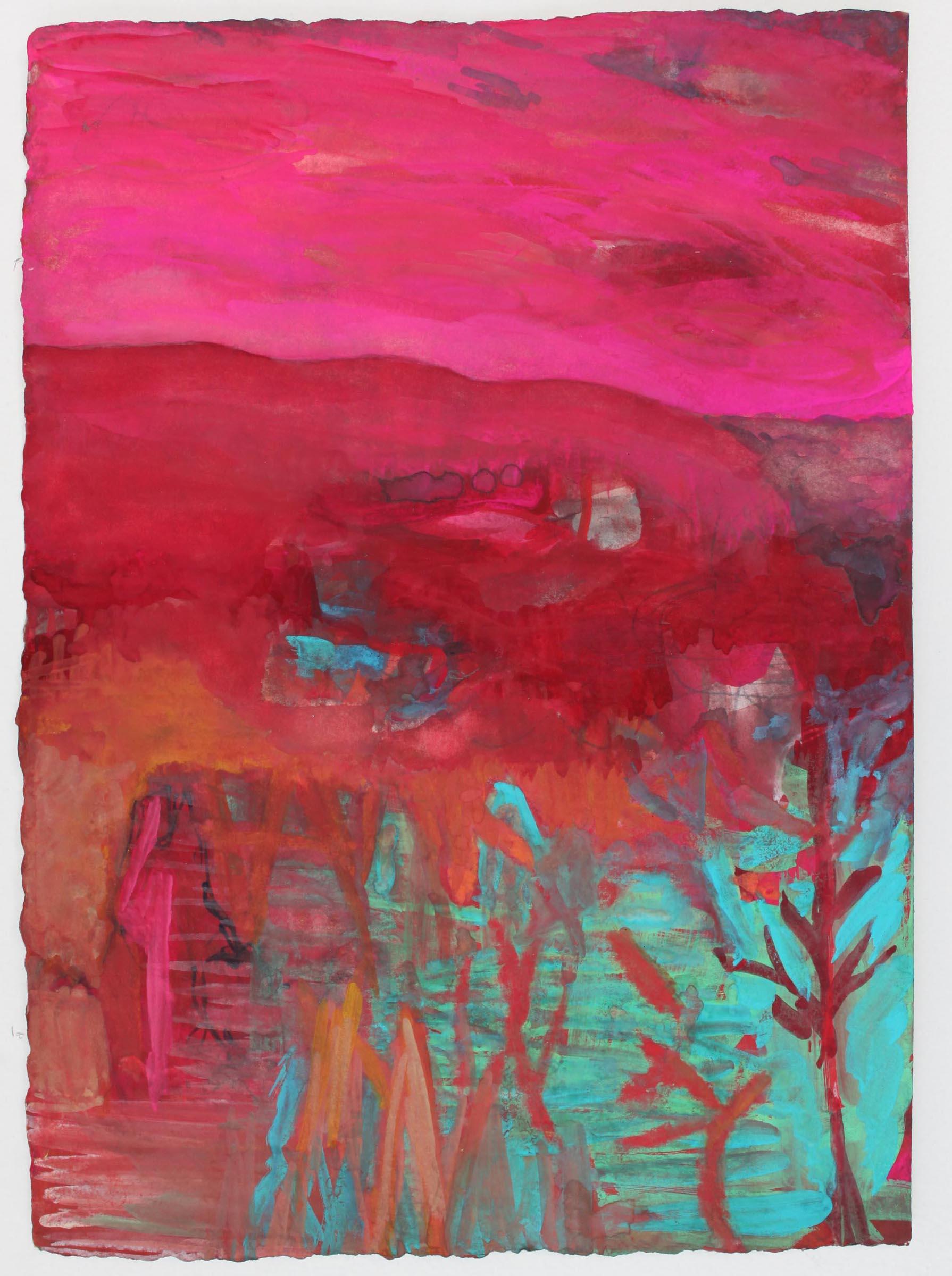 "Pink Sky Red Hills,  11""x 8"", gouache on handmade paper, 2010"