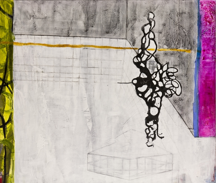 """Suspended In Space Right ,   42""""x 36"""", ink and pigment dispersion in polymer, graphite, glass powder on canvas, 2011"""