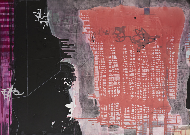 "Intrusion,  40""x 56"", acrylic, ink, graphite, glass powder on canvas, 2011"