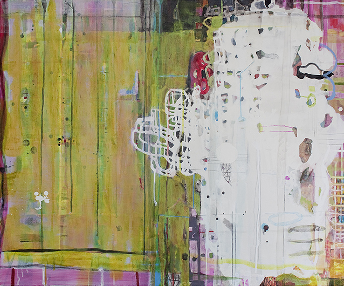 """Green Space,  30""""x 36"""", acrylic, ink, graphite, glass powder on canvas, 2013"""