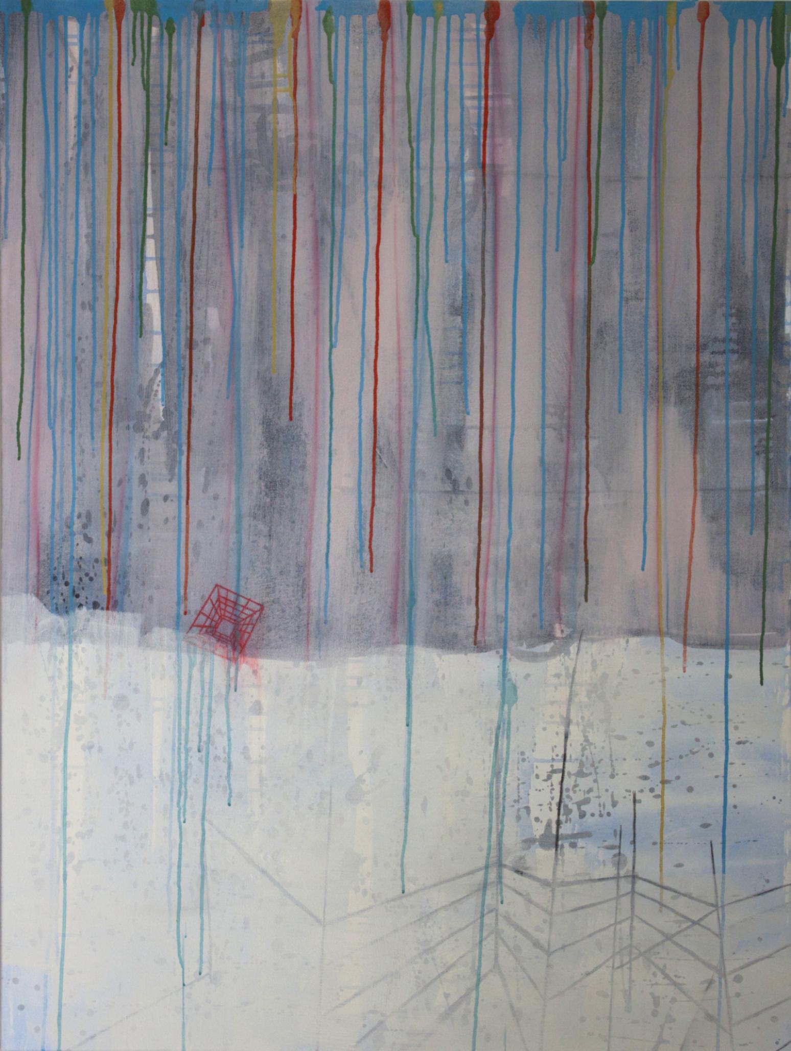 "Shadow & Fog  , 48""x 36"", acrylic, ink, graphite on canvas, 2013"