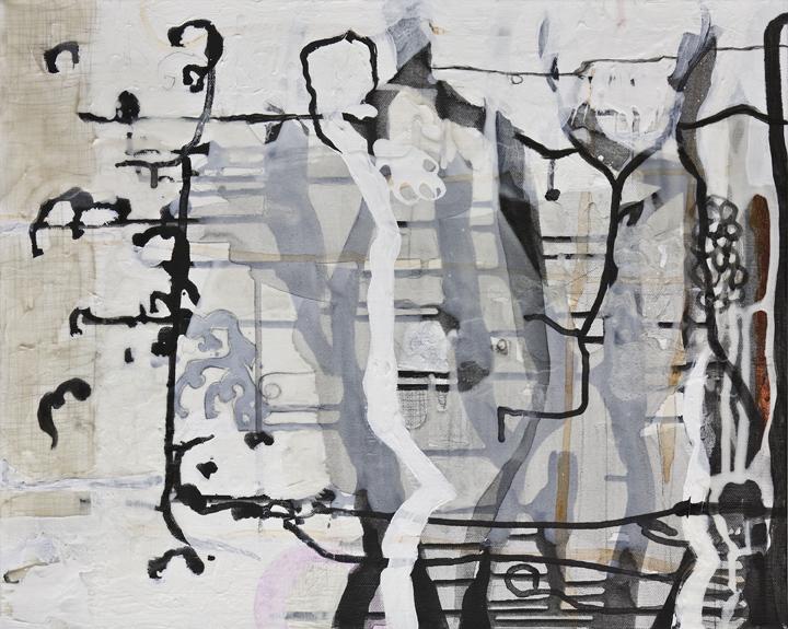"Finite Passageways  , 16""x 20"", acrylic, ink, graphite, glass powder on canvas, 2011"