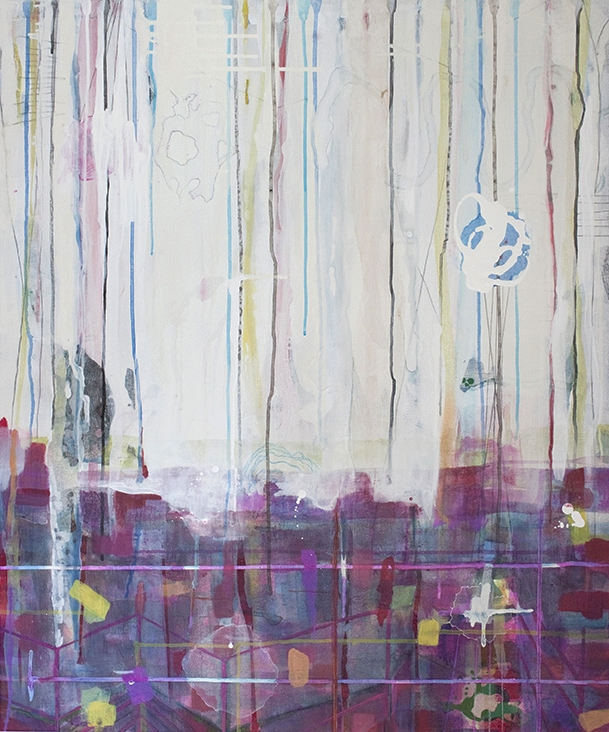 """Up in Clouds,  36""""x 30"""" , acrylic, ink, graphite, glass powder on canvas, 2013"""