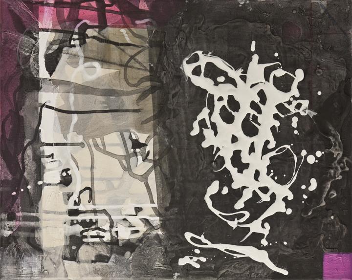 "Small World Night Day   , 16""x 20"", acrylic, ink, graphite, glass powder on canvas, 2011"
