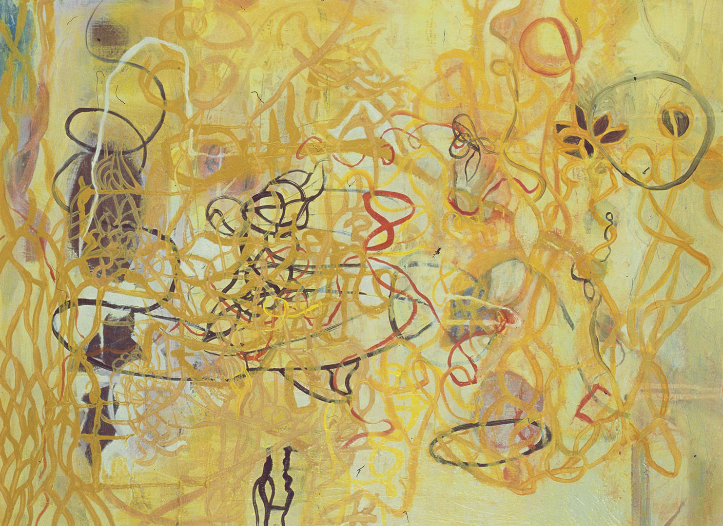 """Yellow Lines,  22""""x 30"""", oil on wood, 2007"""