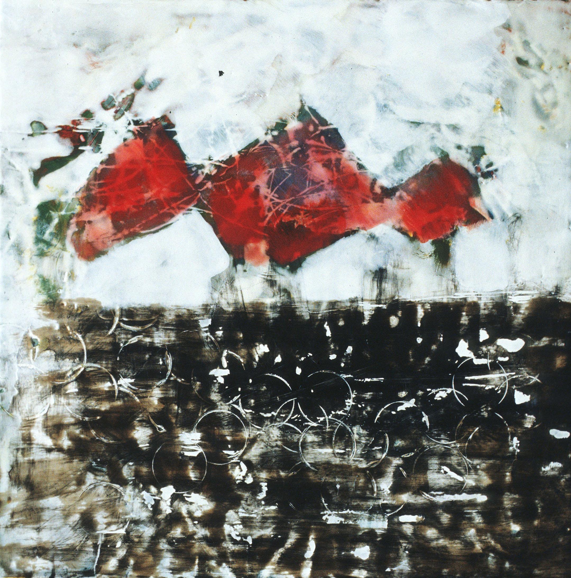 "Red Diamonds   , 20""x 20"", encaustic, oil on wood, 2005"