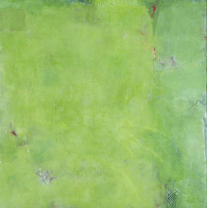 "Verdant   , 24""x 24"", encaustic, oil on wood, 2003"