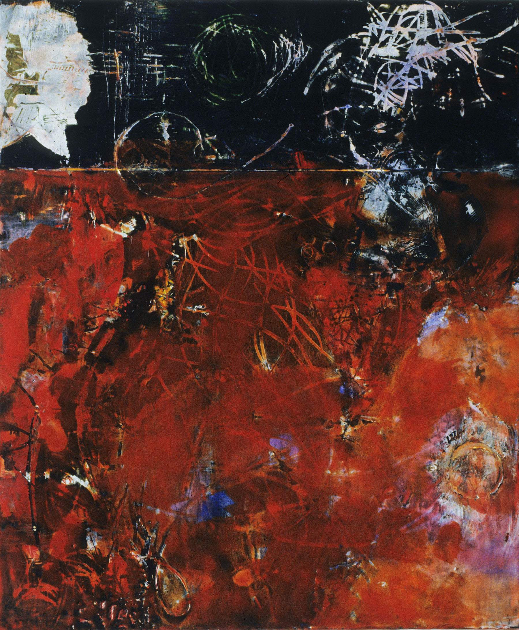 "White Flower Red   , 18""x 15"", encaustic, oil on wood, 2005"