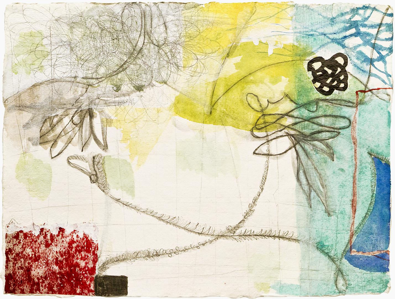 "Light As Air  , 12""x 16"", gouache, ink, graphite, print  mediaon handmade paper, 2011"