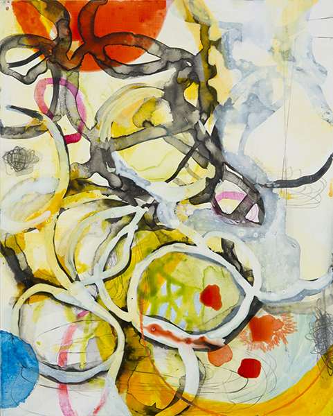 """Yellow Red Tangle,  10""""x 8"""", ink,gouache,graphite on clayboard, 2014"""