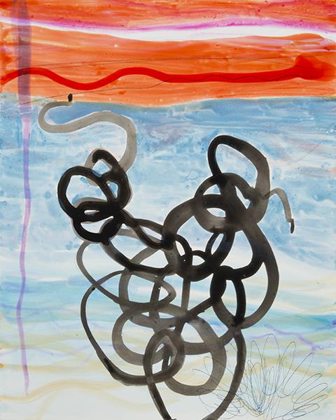 """Underwater  , 10""""x 8"""", ink,gouache,graphite on clayboard, 2014"""