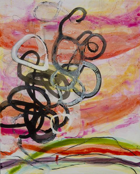 "Inverness Ridge 8 PM  , 10""x 8"", ink, gouache, acrylic, graphite on clayboard, 2014"
