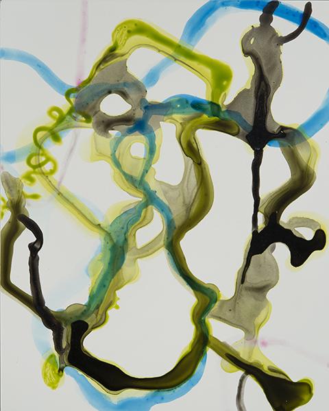 "Lime Blue Tango,   10""x 8"", ink on clayboard, 2014"