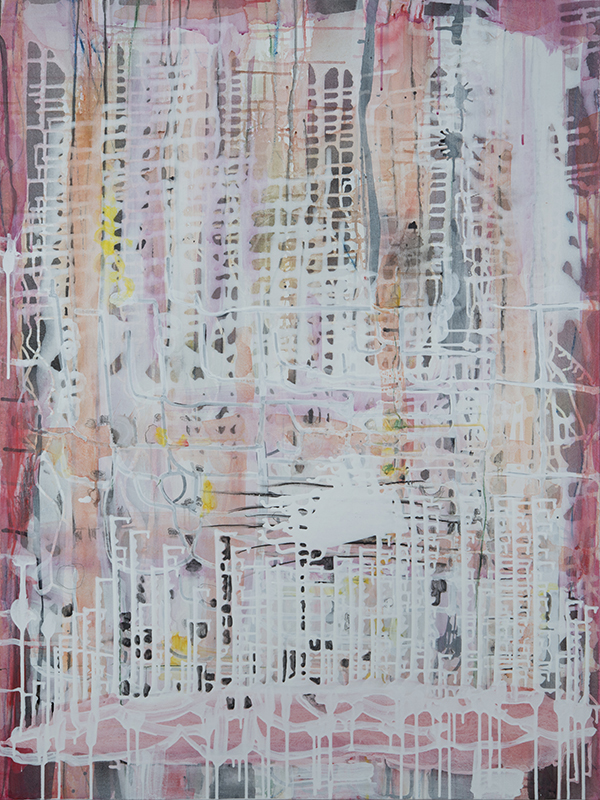 """Interlace Red,   48""""x 36"""", acrylic, ink, graphite on canvas, 2014"""