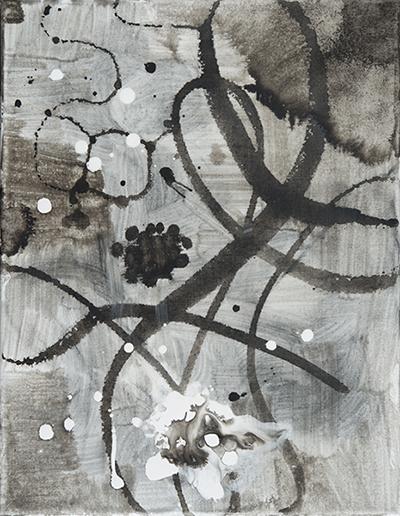 "Floating Grey,   18""x 14"", acrylic, ink on canvas, 2014"