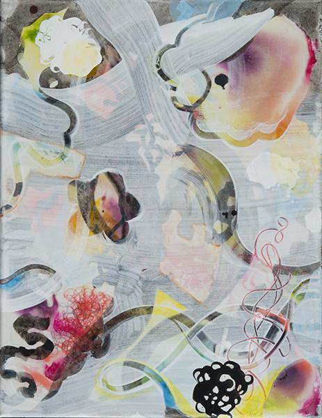 "Peeking Through Mist,   18""x 14"", acrylic, ink on canvas, 2014"