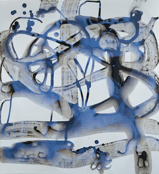 "Rain in the Woods 3   , 24""x 22"", acrylic, ink on aluminum, 2014"