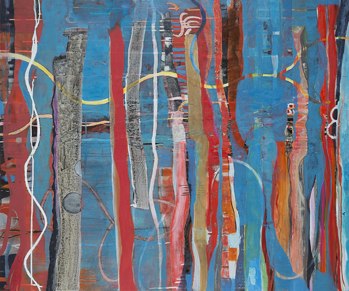 """WaterView,  40""""x 48"""", oil, acrylic, ink, graphite on wood, 2014"""