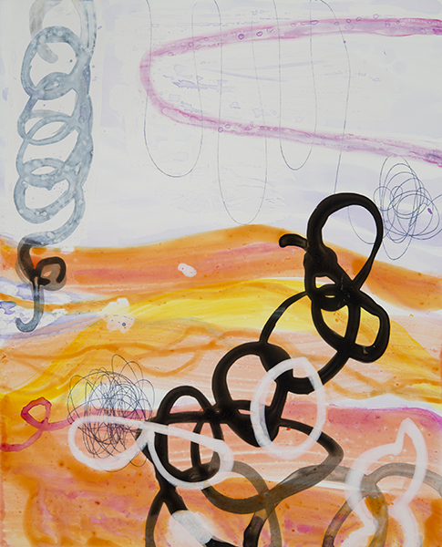 "Firewater,  10""x 8"", ink, gouache, acrylic on clayboard, 2014"