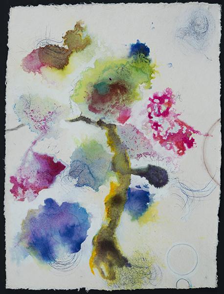 "Leaf Gesture,   16""x 12"", ink, graphite on handmade paper, 2014"