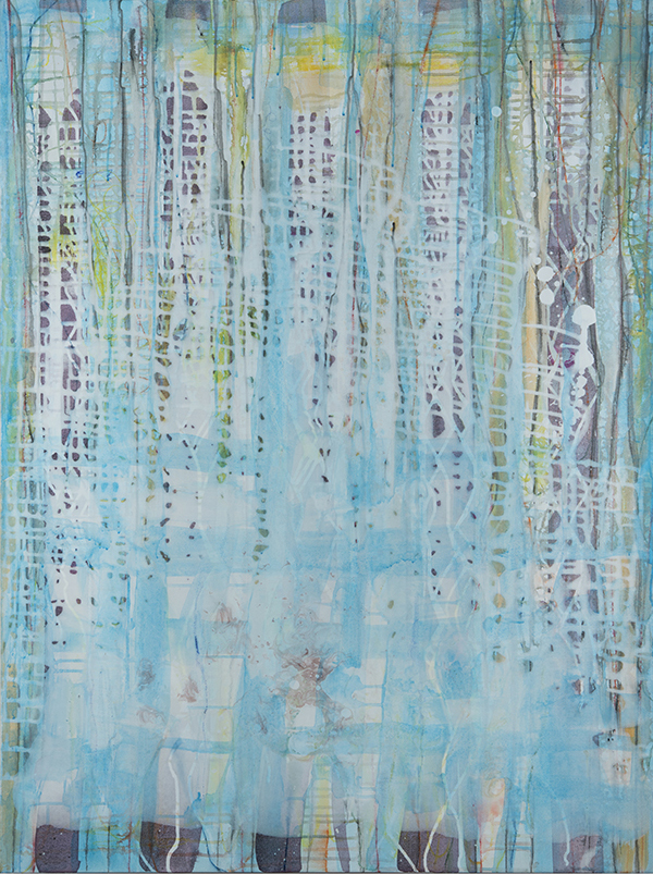 """Turquoise Mesh,  48""""x 36"""", ink and pigment dispersion in polymer, graphite, glass powder on canvas, 2014"""