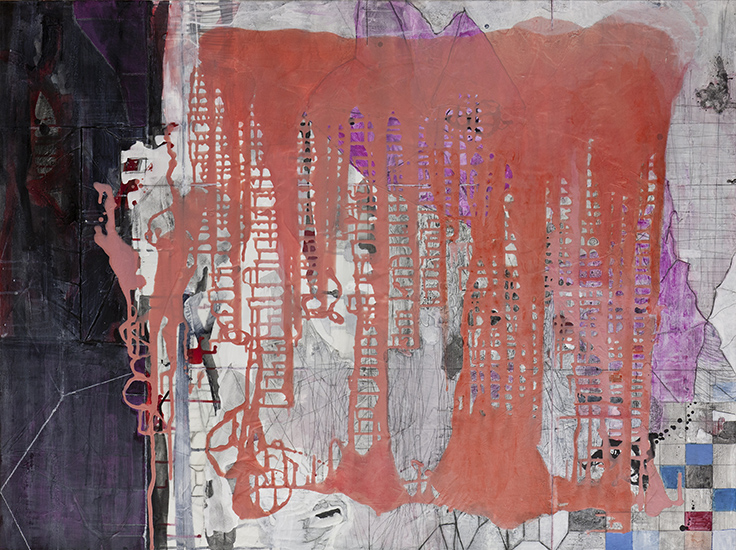 """Latitude & Longitude,    36""""x 48"""", ink and pigment dispersion in polymer, graphite, glass powder on canvas, 2011"""