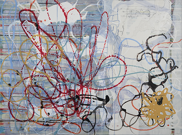 "Ancestral Paths , 36"" x 48"", acrylic, ink, graphite, color pencil on cavas, 2016"