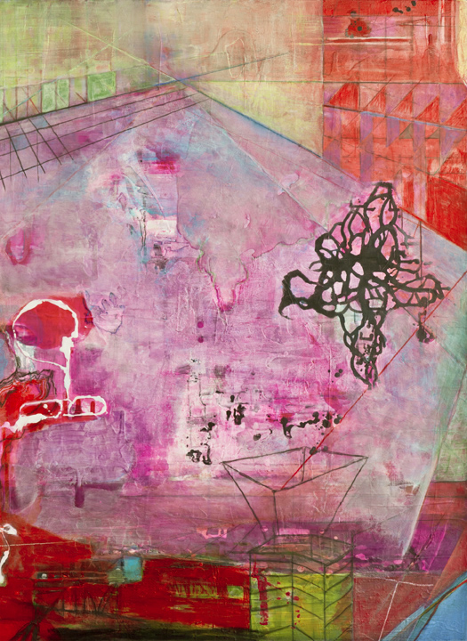 """Pink Floor Nascent Forms,    48""""x 36"""", ink and pigment dispersion in polymer, graphite, glass powder on canvas, 2011"""