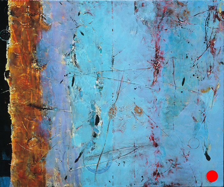 "Blue Boundaries,   25"" x 30"", encaustic, oil on panel, 2005  SOLD"