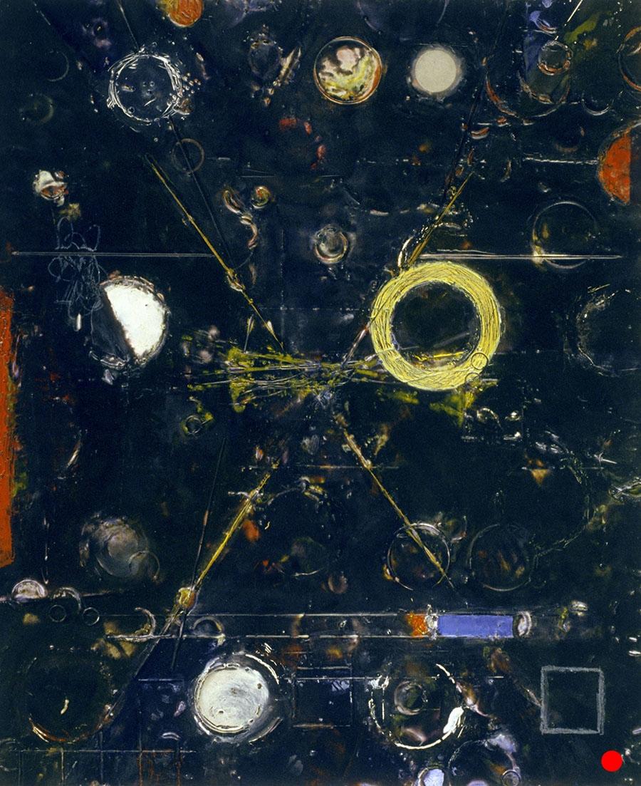 "Black White Circles ,  18""x 15"", encaustic, oil on wood, 2004  SOLD"
