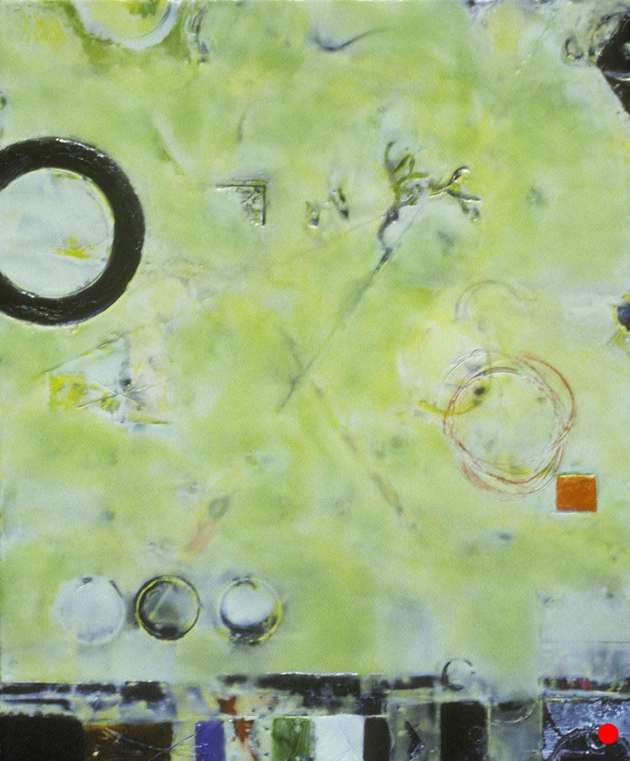 """Orange Square with Lime ,  18""""x 15"""", encaustic, oil on wood, 2004  SOLD"""