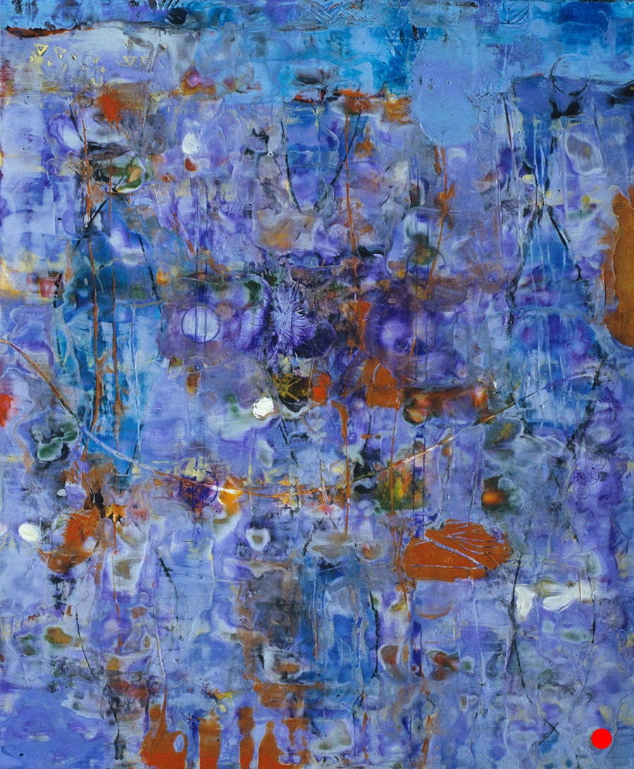 "Blue Slide ,  30""x 25"", encaustic, oil on wood, 2005  SOLD"
