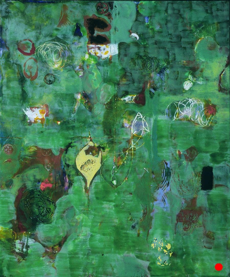 "Green Swirl ,  30""x 25"", encaustic, oil on wood, 2005  SOLD"