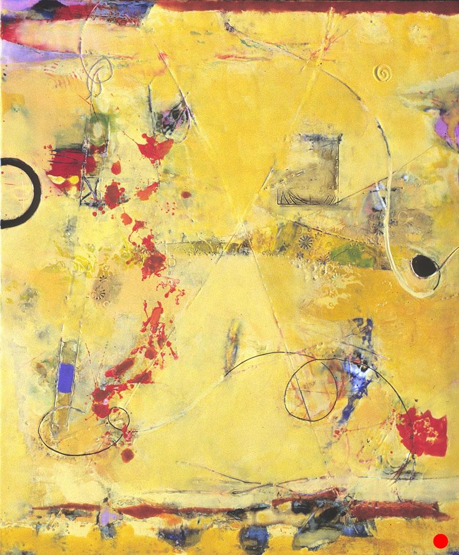 "Yellow Splash,   30"" x 25"", encaustic, oil on wood, 2005  SOLD"