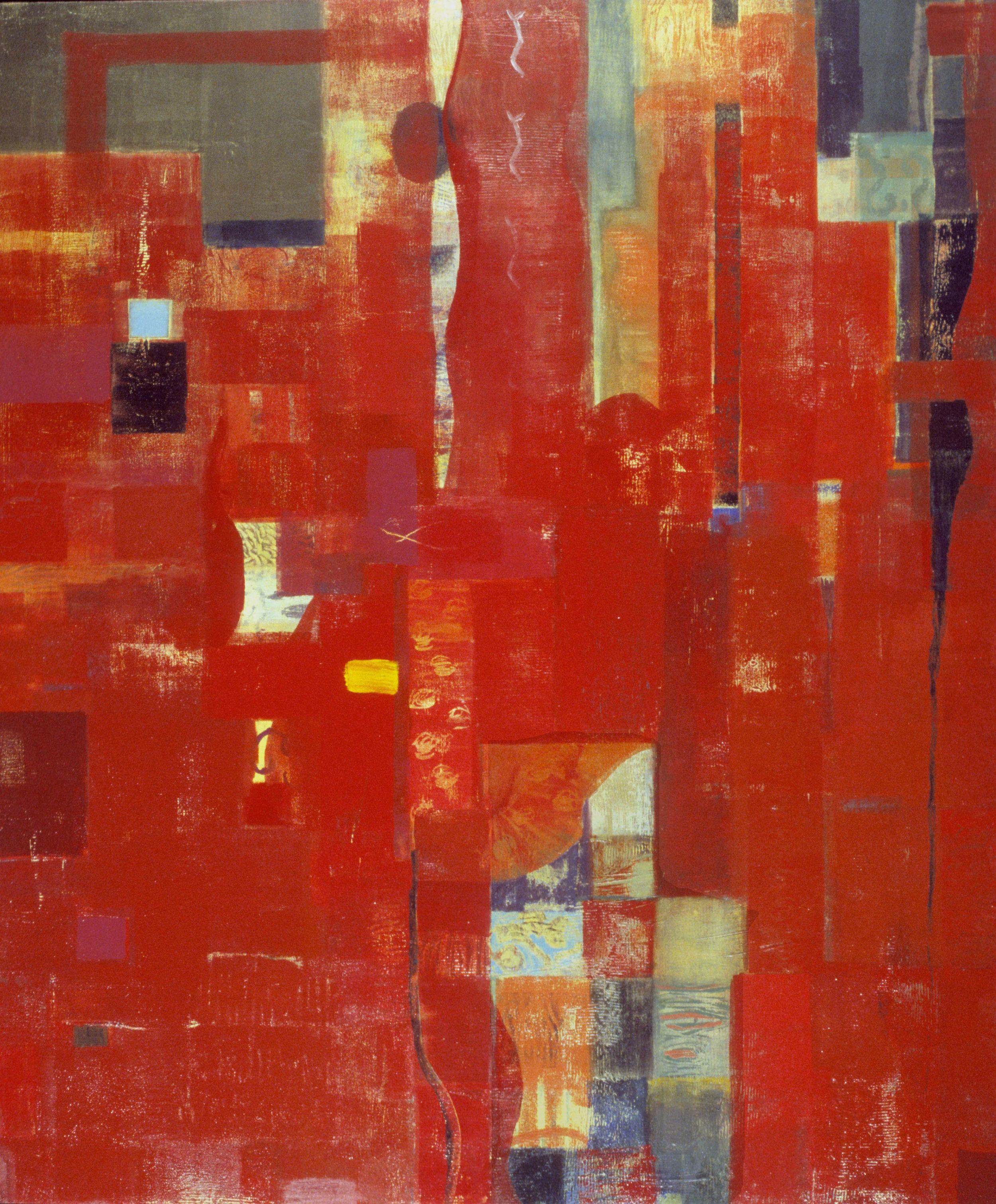 """Infinite Red,   48"""" x 40"""", oil on wood, 1999,  SOLD"""