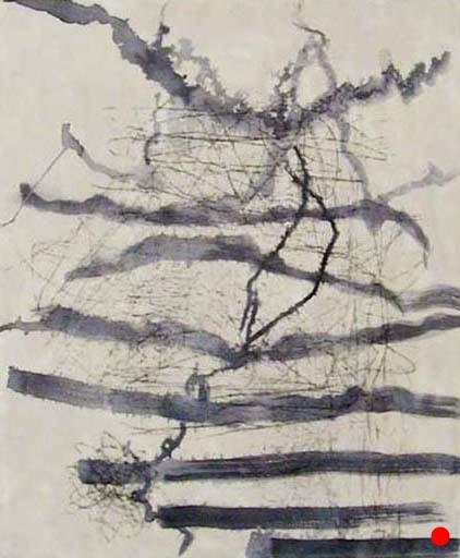 """Ink Gesture Pale,   24"""" x 20"""", encaustic, ink, graphite on wood, 2006  SOLD"""