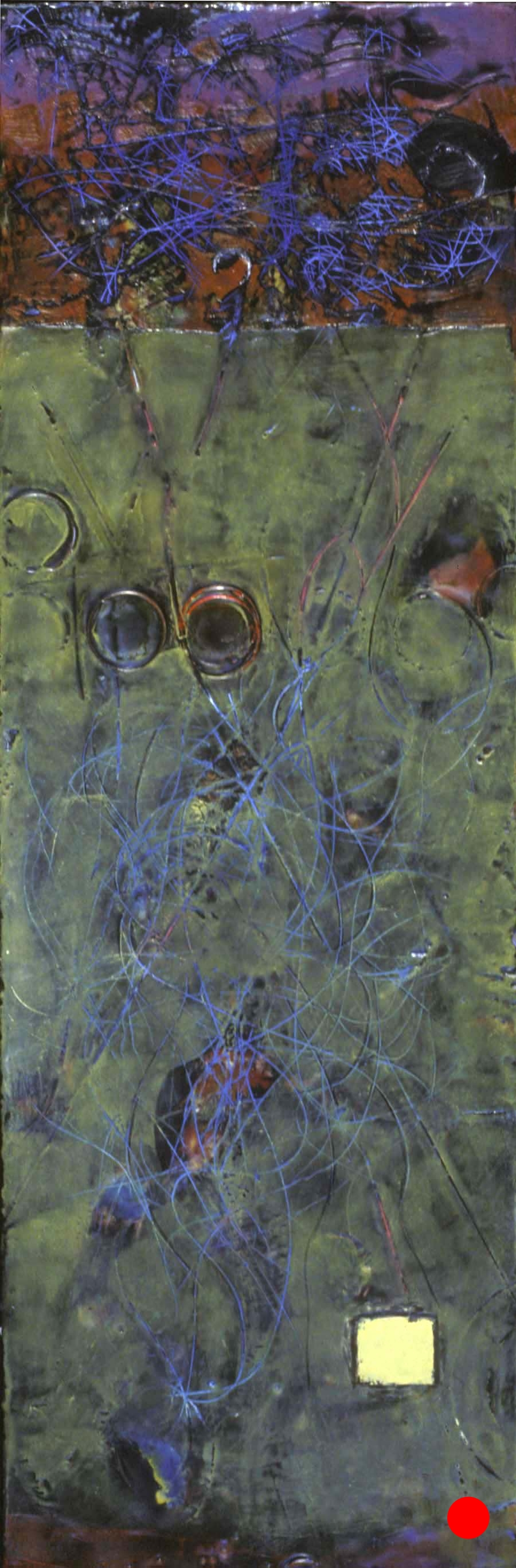 """Inside Out,   30"""" x 10"""", encaustic,oil on wood, 2004  SOLD"""