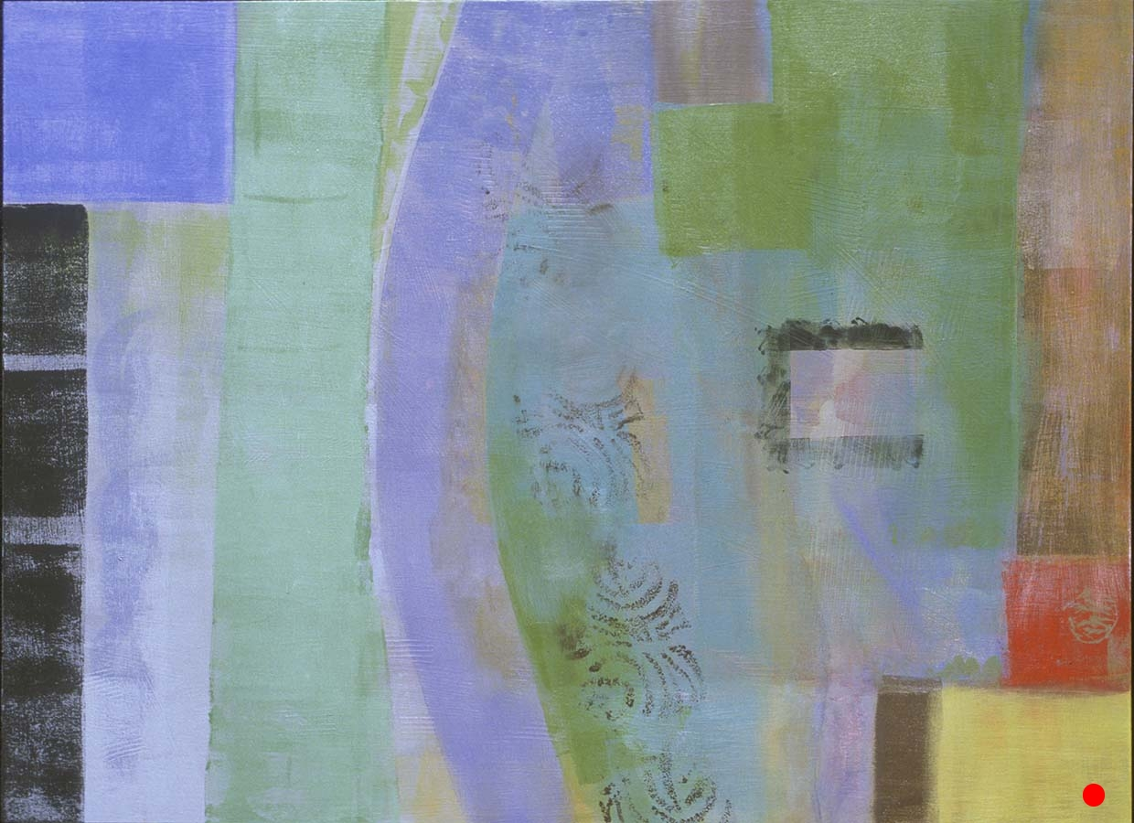 """Blue Arc,   25""""x 30"""", oil on wood, 2000  SOLD"""