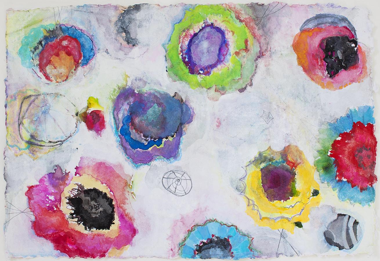"Poppies 4,   12""x 18"", ink, gouache, graphite on handmade paper, 2013"