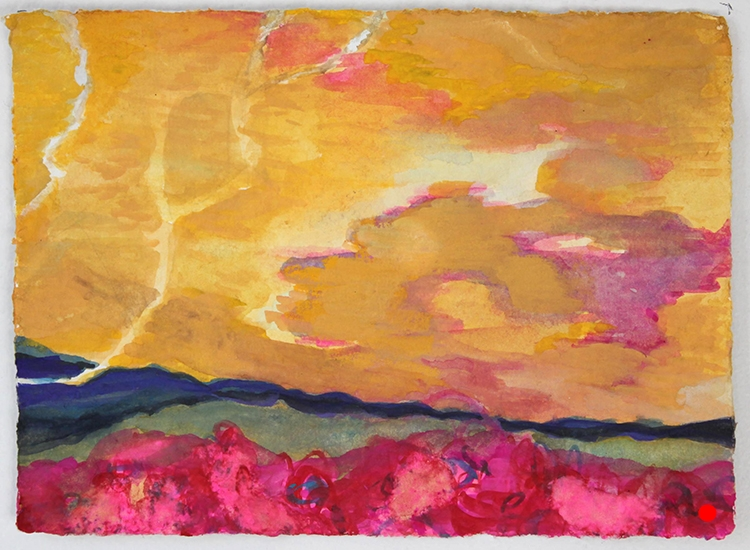 """Yellow Sky Pink,  5""""x 7"""", gouache on handmade paper, 2010  SOLD"""
