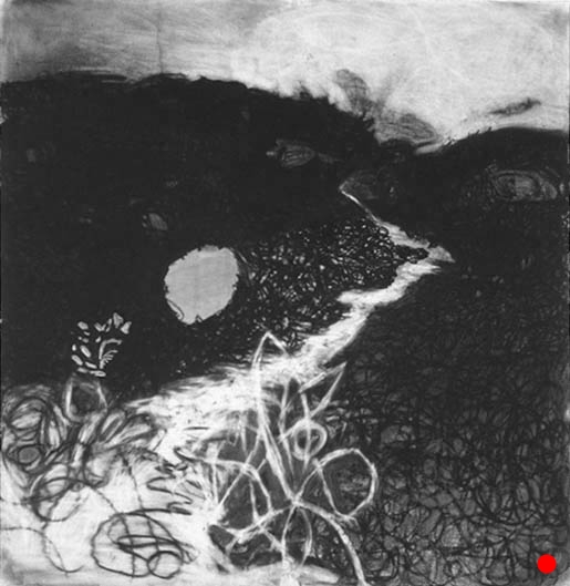 """Pathway,  42""""x 40"""", charcoal on paper, 2000  SOLD"""