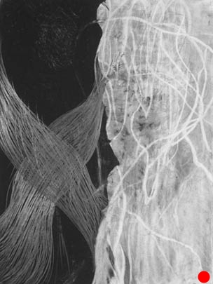 """Silver X,   26"""" x 20"""", charcoal, graphite on paper, 2006  SOLD"""