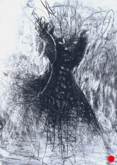 """Dress Form,  40.5""""x 29.5"""", charcoal, graphite on paper, 2005  SOLD"""