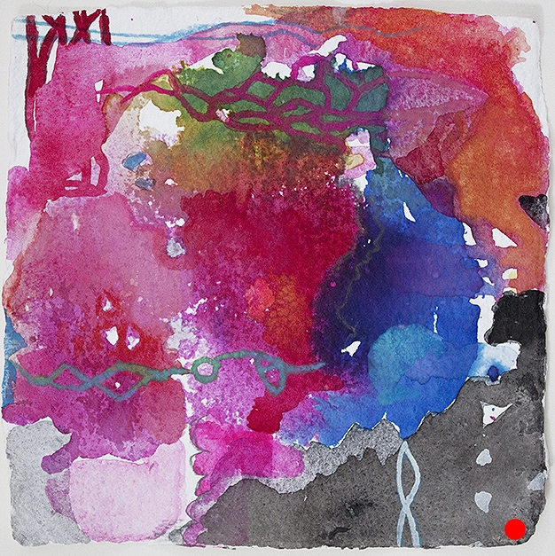 """Olema PM  , 8"""" x 8"""", ink, gouache on paper, 2013  SOLD"""