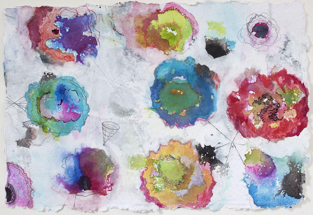 "Poppies 3,   12""x 18"", ink, gouache, graphite on handmade paper, 2013"