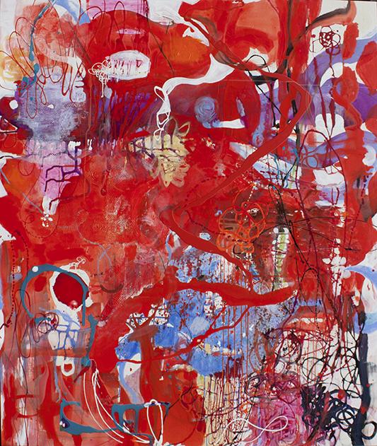 "Improvisation , 72"" x 60"", acrylic, ink, graphite, color pencil on canvas, 2017"