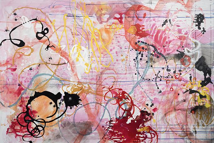 "Glass Garden , 40"" x 60"", acrylic, ink, graphite, color pencil on cavas, 2016"