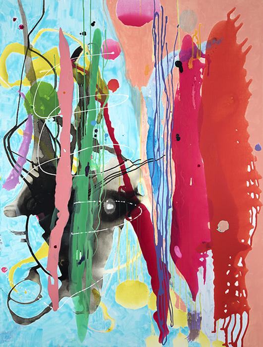 "Rangadravya,  66"" x 50"", acrylic, ink, graphite on canvas, 2018"